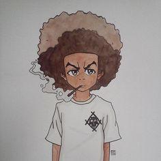 huey freeman is hollowsquad Anime Drawings Sketches, Cool Art Drawings, Cartoon Drawings, Cartoon Art, Black Girl Cartoon, Cute Cartoon, Boondocks Drawings, Boondocks Comic, Gangster Drawings