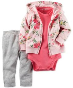 Three precious pieces come together to create this pretty Carter's set for her casual days, featuring a floral French terry hoodie, bodysuit and pull-on leggings.   Cotton   Machine washable   Importe