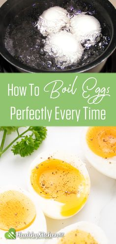 Eggs are probably one of the most common ingredients for many healthy eating recipes. Cooking eggs may seem like an easy task, but eggs are delicate— they can turn from soft boil to hard boil in a blink of an eye. With this guide on how to boil eggs, you will know exactly how much time you need to cook perfect eggs. Soft boiled eggs for salads, hard boiled eggs for appetizers— you name it, you'll get it. #eggs #howtoboileggs #howto #eggs #healthyeating #salads #appetizers #HealthyKitchen101