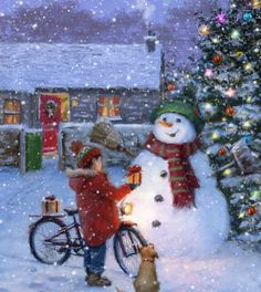 Leading Illustration & Publishing Agency based in London, New York & Marbella. Family Christmas Cards, Merry Christmas To All, Christmas Scenes, Christmas Clipart, Primitive Christmas, Christmas Is Coming, Christmas Pictures, Christmas Snowman, Beautiful Christmas