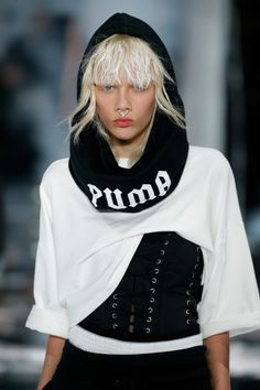 http://triangleartsandentertainment.org/wp-content/uploads/2016/02/509894812-e1455542415601.jpg - PUMA BY RIHANNA AW16 COLLECTION PREMIERES AT NEW YORK FASHION WEEK -   NEW YORK, NY – FEBRUARY 12: A model walks the runway at the FENTY PUMA by Rihanna AW16 Collection during Fall 2016 New York Fashion Week at 23 Wall Street on February 12, 2016 in New York City. (Photo by JP Yim/Getty Images for FENTY PUMA) UNDER THE ELEMENTS, RIHANNA REMIXES... - http://triangleart