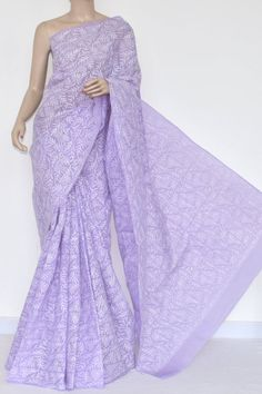 Lavender Hand Embroidered Allover Tepchi Work Lucknowi Chikankari Saree (With Blouse - Cotton) 14721