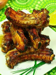 Greek Ribs - make for dinner or an appetizer. Loads of flavour with fresh garlic, oregano, lemon and onions.
