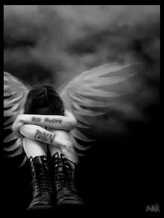 No more constant pain. Dark Gothic Art, Dark Fantasy Art, Dark Art, Sad Angel, Angel And Devil, Gothic Angel, Dark Wings, Angel Drawing, Angel Tattoo Designs