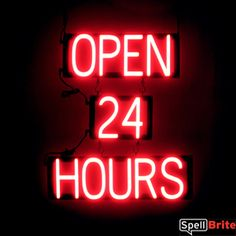 Attract more customers with an OPEN 24 HOURS sign that has the striking impact of neon, all the benefits of LEDs, and fully changeable letters.