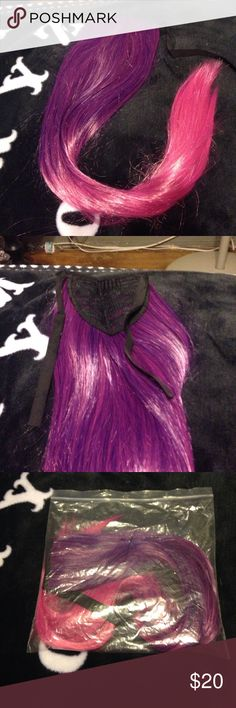 """Pink & Purple Ponytail Extensions Brand new never worn. 100% synthetic 24"""" pink and purple dip- dye ombré ponytail. Has a hook and wrap. Can withstand heat styling under 170-300*. Makeup"""