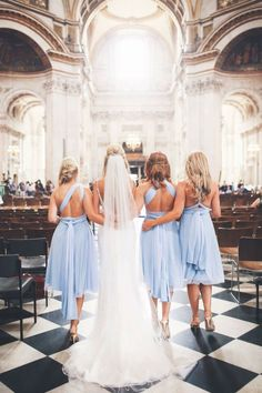 Powder blue twobirds Bridesmaid dresses | A real wedding featuring our multiway, convertible, twist wrap dresses