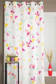 Paire de Rideau Poly-Coton Motif Formes Géométriques Multicolore Curtains, Shower, Prints, Linens, Dimensional Shapes, Pattern, Room