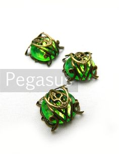 Absinthe GREEN Filigree wrapped beads (6 Pieces)(12mm diameter) decorate boutonniere, elven bracers, victorian rings - Customizable colors on Etsy, $4.00