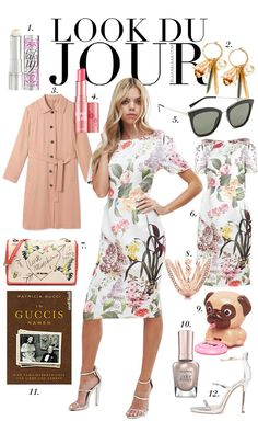 Look Du Jour: Fakeup! White floral midi dress+silver ankle strap heeled sandals+blush trenchcoat+white printed shoulder bag+sunglasses. Spring Dressy Casual Outfit 2017