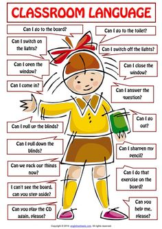 The language spoken in the lessons is English. Here are some phrases you should know, understand, or be able to use. # learn english words classroom Classroom Language For Teachers and Students of English - ESLBuzz Learning English Learning English For Kids, Teaching English Grammar, English Worksheets For Kids, English Lessons For Kids, Kids English, English Writing Skills, English Vocabulary Words, English Language Learning, English Phrases