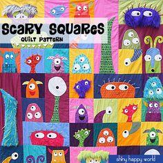 Unheimlich Quadrate Monster Quilt Muster PDF von ShinyHappyWorld