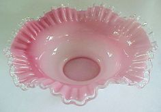 fenton glass | Fenton White with Pink Ruffled Bowl