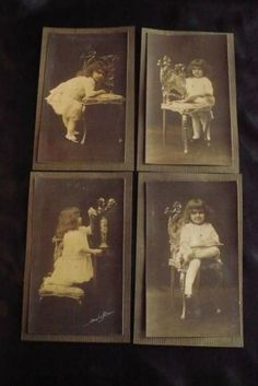 Antique-or-Vtg-Photographs-Little-Girl-Period-Clothing-Flowers-Sepia-Set-of-4
