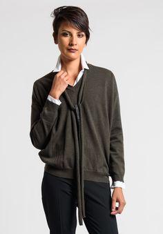 Brunello+Cucinelli+Cashmere+Paillette+Tie+V-Neck+Sweater+in+Dark+Olive