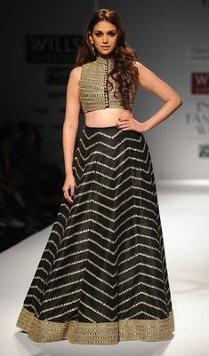 Black and golden modern indo-western lehenga by Payal Singhal's collection 'Firdaus' WIFW 2014