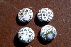 Owl pin back buttons