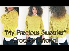 """""""My Precious"""" Sweater ByKaterina Crochet Pattern for sizes from Small to 2X Large with chart and video tuttorial. ByKaterina"""