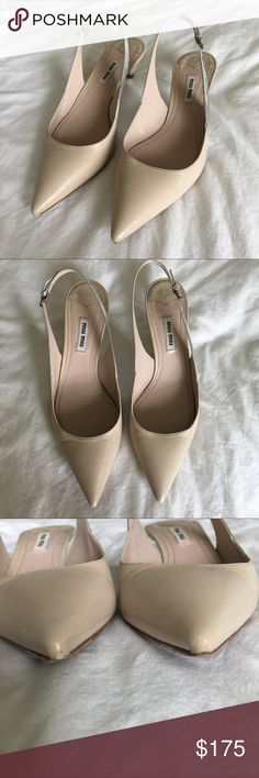 Miu Miu (Prada) nude slingback kitten heels Great classic design with an edge! Beautiful pointed toe, nude, kitten heels with a patent silver slingback. Very small nick to toe tips and one major flaw on back of heel. With the kitten heel no one would ever see it! Please see pictures and ask questions! Shoes