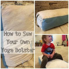Thinking about buying a yoga bolster pillow for your home yoga practice? Know how to sew? Consider making your own bolster using custom fabric choices and scrap fabric. This is a great project if you love yoga! Yoga Bolster, Bolster Pillow, Sewing Projects For Beginners, Sewing Tutorials, Sewing Patterns, Sewing Tips, Sewing Hacks, Bags Sewing, Crafty Projects