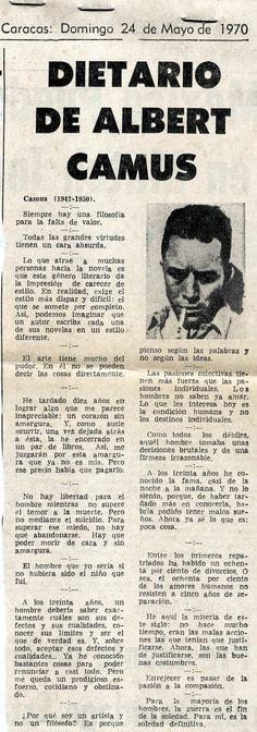 Dietario de Albert Camus. Publicado en el Nacional el 24 de mayo de 1970