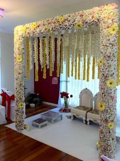 simple mandap decoration for ganpati is part of Indian wedding decorations (Visited 10 times, 1 visits today) - Desi Wedding Decor, Wedding Hall Decorations, Marriage Decoration, Wedding Mandap, Engagement Decorations, Flower Decorations, Engagement Ideas, Flower Decoration For Ganpati, Wedding Gate