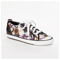 SALECoach Barrett sneaker Very cute fall sneaker. The back and lining of shoe is a deep dark brown patent leather. The C's are Orange, Dark Blue, and Purple. They have been worn and have a couple of scuffs on the front and side but if washed will come out easy. I also took the insoles out and replaced them with jelly Dr. Scholls inserts(thats why they are a different color. They are removable) I don't have the original insoles. Coach Shoes