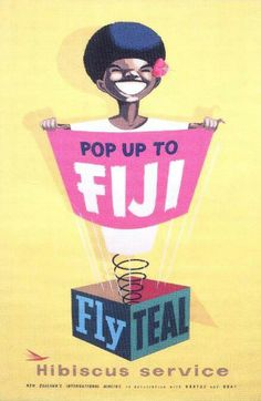 Fiji on TEAL's Hibiscus Service Poster, 1950s. Image facebook Vintage Travel Posters, Vintage Airline, Image Facebook, Visit Fiji, Air New Zealand, Travel Ads, Vintage Pictures, Holiday Posters, Tourism