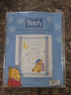 Pooh Counted Cross Stitch Kit - Birth Announcement #113217 - NEW by WhimseysByAnne on Etsy, $25.00