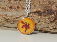 Gold & Red Heather Pendant Real Flower Resin by JustKJewellery, £10.50