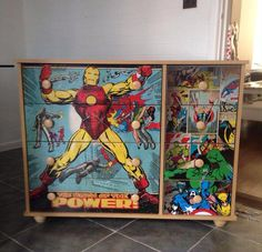 decoupage furniture superhero table and chair my creations