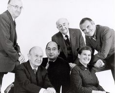 from left top row: Robert Probst,  DJ De Pree and Charles Eames. And seated, Alexander Girard, George Nelson and Ray Eames