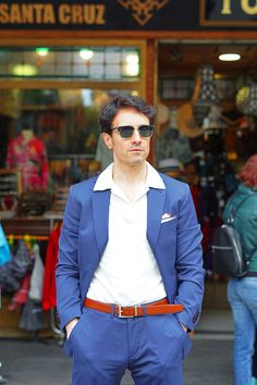 blue suit outfit ideas for men with blue suit, white polo shirt and Persol sunglasses. Italian suit for men Mens Fashion Suits, Mens Suits, Blue Suit Outfit, Outfit Primavera, Italian Mens Fashion, Spring Fashion Outfits, Spring Street Style, Persol, Men Casual