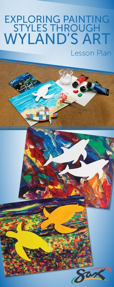 Explore painting styles through Wyland's art. Complete lesson plan included, as well as material list (makes up to 12 projects), grade levels, cross-curricular subjects and national standards correlations. Developed exclusively for Sax. Wyland Art, Animal Art Projects, Painting Styles, Art Lessons Elementary, Fashion Painting, Painting Lessons, Ocean Art, Preschool Art, Art Lesson Plans