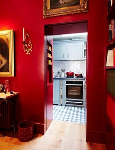 Sue Crewe & her very small, very bespoke Suffolk kitchen | Neptune Neptune Home, Neptune Kitchen, Red Cabinets, New Kitchen Cabinets, Kitchen Interior, Room Interior, Kitchen Design, Building A Cabin, Red Rooms