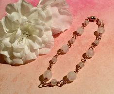 Excited to share this item from my shop: Rose Gold filled wire wrapped Rose Quartz bracelet Rose Gold Chain, Gold Chains, Rose Quartz Bracelet, Semi Precious Gemstones, Gemstone Beads, Wire Wrapping, Gifts For Her, Christmas Birthday, Bracelets