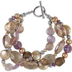 Freshwater Dyed chocolate Pearls & Multi Gemstone Bracelet