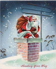 Santa Claus Fireplace Wreath Tree Ornament Present VTG Christmas Greeting Card Christmas Scenery, Old Christmas, Old Fashioned Christmas, Very Merry Christmas, Vintage Christmas Cards, Christmas Greeting Cards, Christmas Pictures, Christmas Greetings, Christmas Ornaments
