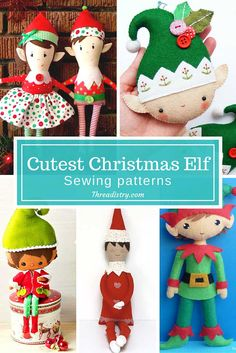 All the cutest Christmas elf sewing patterns. Perfect for making your own special DIY Elf on the Shelf. Christmas Sewing Patterns, Christmas Sewing Projects, Christmas Crafts, Christmas Ornaments, Yule Crafts, Christmas Elf Doll, Felt Christmas, Diy Christmas Gifts, Elf Toy