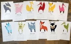 Illustrated Desktop Animal Calendars