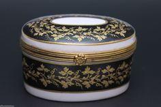 Oversized Limoges Hand Painted Black Gold Antique Porcelain Box   eBay