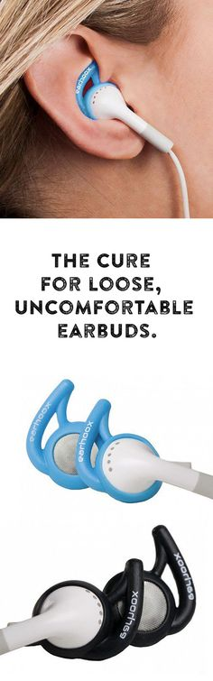 The cure for loose, uncomfortable earbuds. The silicone attachments fit universally on round or Apple earbuds, providing traction to key points of the ear ensuring a snug and comfortable fit. - this would be perfect for running! Gadgets And Gizmos, Tech Gadgets, Cool Gadgets, Just In Case, Just For You, The Cure, Running Gear, Running Equipment, Exercise Equipment