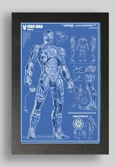 Iron Man Mark 42 Suit Blueprints 16x24 by RyanHuddle on Etsy, $25.00