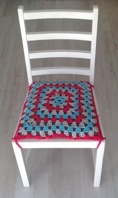 t-shirt yarn granny square chair seat cover