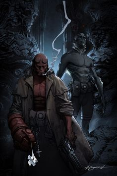 Commision I did of Hellboy and Abe. Pencils: Michael Broussard Here are the colors: Characters belong to ©Dark Horse. Hellboy and Abe Sapien Commision Comic Book Characters, Comic Book Heroes, Comic Character, Comic Books Art, Comic Art, Comic Pics, Darkhorse Comics, Fantasy Anime, Fantasy Art