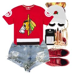 A fashion look from March 2016 featuring red tee, high waisted cut off shorts and leather trainers. Browse and shop related looks. High Fashion Outfits, Stylish Outfits, Stylish Clothes, Sexy Outfits, Urban Fashion, Womens Fashion, Urban Street Style, New Look, Swag