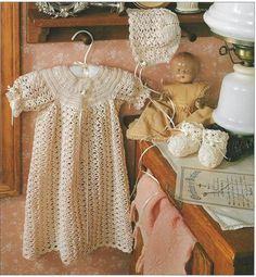 Crochet Pattern Baby Infant Christening Layette Ribbon Trimmed Dress Bonnet NB | eBay