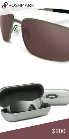 Oakley Titanium Polarized Sunglasses with case New Titanium brushed chrome Square Wire II with OO Black Iridium polarized lenses And New metal vault sunglass case Oakley Accessories Sunglasses