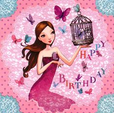 Square card by Mila Marquis by MarquisWonderland on Etsy Happy Birthday Tag, Happy Birthday Quotes, Birthday Greetings, Girl Birthday, Decoupage, Wonderful Day, First Birthday Photos, Square Card, Happy B Day