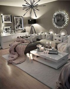 Here are the Neutral Decoration Ideas For Your Living Room. This post about Neutral Decoration Ideas For Your Living Room … Cozy Grey Living Room, My Living Room, Interior Design Living Room, Living Room Designs, Grey Room, Bedroom Designs, Home And Living, Living Area, First Apartment Decorating